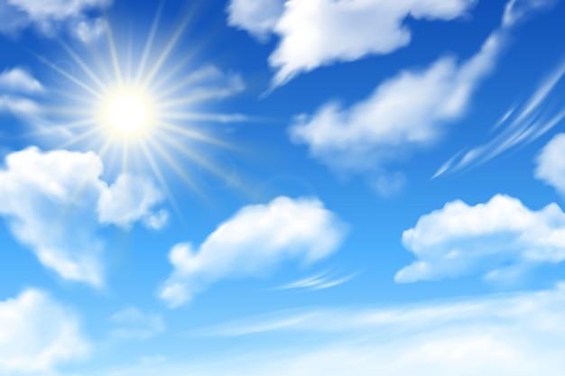 Fondo de cielo azul con nubes blancas y sol. realista efecto turbio.