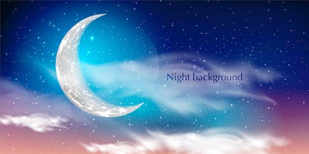 Fondo de cielo azul oscuro con luna, nubes y estrellas. noche de luna.