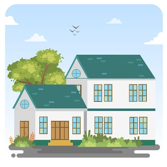 Fondo de cielo azul de paisaje de ilustración de casa moderna