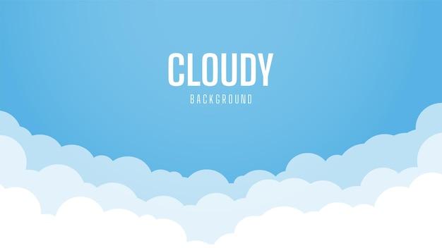 Fondo de cielo brillante con nubes. hermoso y simple diseño de cielo azul