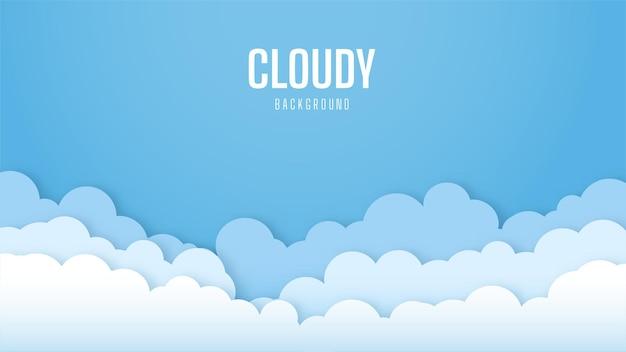 Fondo de cielo brillante con nubes. hermoso y simple diseño de vector de cielo azul