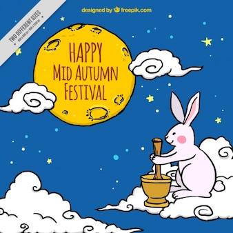 Fondo de cielo dibujado a mano del festival del medio otoño