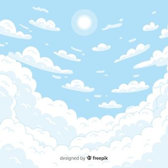 Fondo cielo dibujado a mano