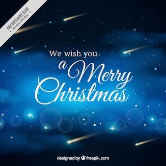 Fondo  de cielo estrellado con mensaje de navidad