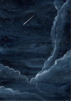Fondo de cielo estrellado noche acuarela