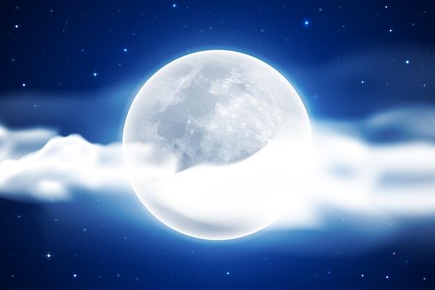 Fondo de cielo de luna llena realista