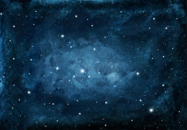 Fondo de cielo nocturno acuarela con estrellas. textura cósmica con estrellas brillantes.