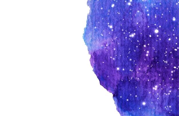 Fondo de cielo nocturno en acuarela con estrellas