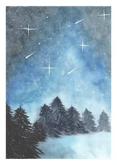Fondo de cielo nocturno acuarela