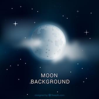 Fondo de cielo nocturno con luna y nubes