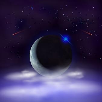 Fondo de cielo nocturno con media luna escondida detrás de las nubes.