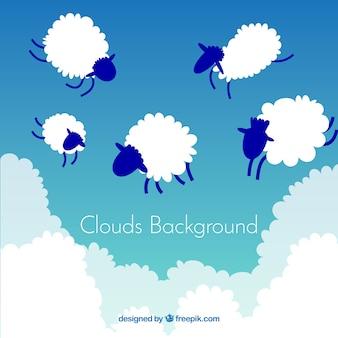 Fondo de cielo con nubes de forma de ovejas