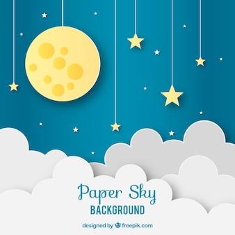 Fondo de cielo con nubes y luna en textura de papel
