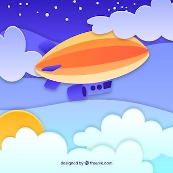 Fondo de cielo con nubes y zeppelin en textura de papel