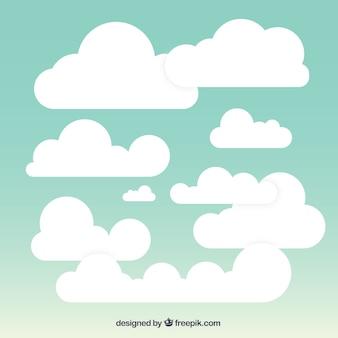 Fondo de cielo nuboso en estilo plano