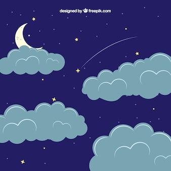 Fondo de cielo nuboso con luna y estrellas en estilo plano