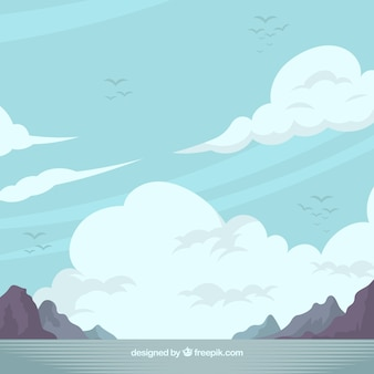 Fondo de cielo nuboso con montañas en estilo plano