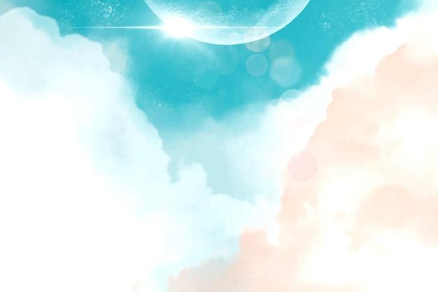 Fondo de cielo pastel acuarela pintado a mano