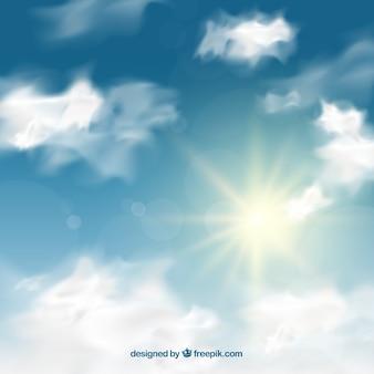 Fondo de cielo realista con nubes