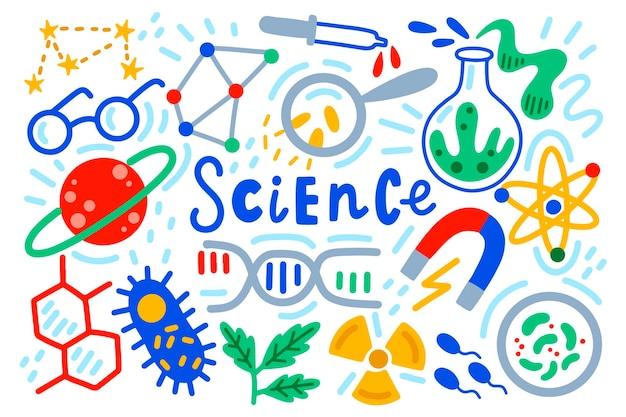 Fondo de ciencia dibujada a mano