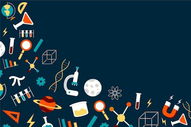 Fondo de ciencia dibujado a mano con colección de elementos