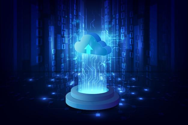 Fondo de ciencia ficción de sistema de tecnología de nube abstracta