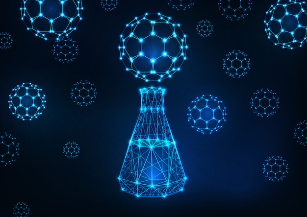 Fondo de ciencia futurista con brillante matraz poligonal bajo y moléculas de buckyball fullereno.