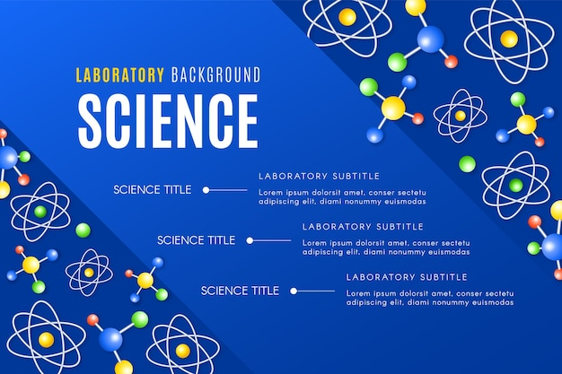 Fondo de ciencia realista con átomos y moléculas.