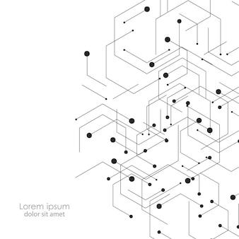 Fondo de ciencia y tecnología con líneas y puntos de conexión abstractos.