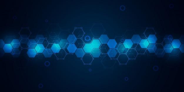 Fondo de ciencia y tecnología con patrón de hexágonos. fondo de alta tecnología de estructuras moleculares e ingeniería química.