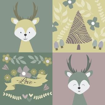 Fondo de ciervo bebé. cartel de niños. naturaleza, flores y animales.