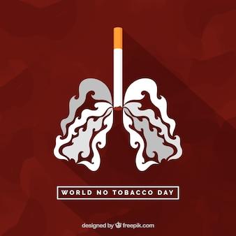 Fondo de cigarrillo y pulmones de humo