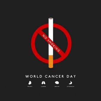 Fondo con un cigarro para el día mundial del cancer