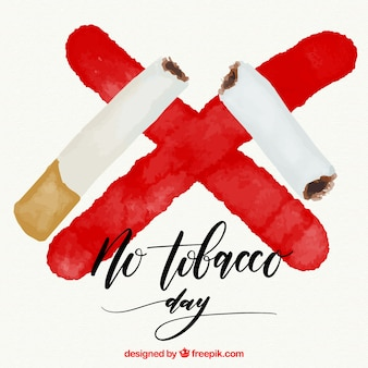 Fondo de cigarro partido y una cruz roja de acuarela