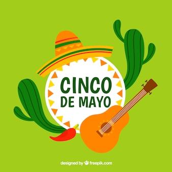 Fondo de cinco de mayo con cactus y guitarra