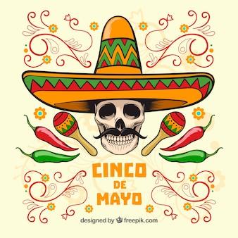 Fondo de cinco de mayo de calavera con sombrero mexicano