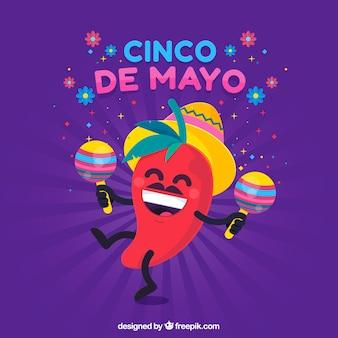 Fondo de cinco de mayo con chili bailando