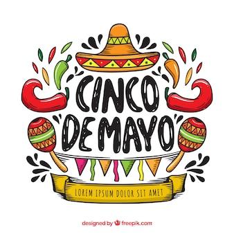 Fondo del cinco de mayo con elementos mexicanos