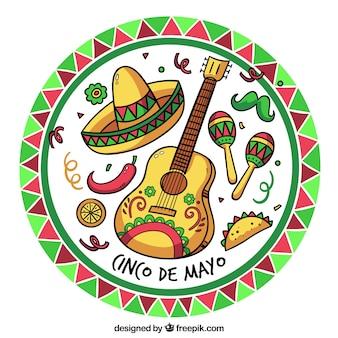 Fondo de cinco de mayo con elementos mexicanos