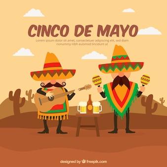 Fondo de cinco de mayo con hombres mexicanos