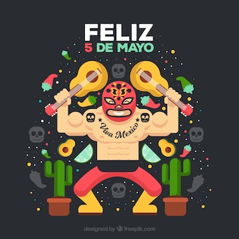 Fondo de cinco de mayo con luchador mexicano
