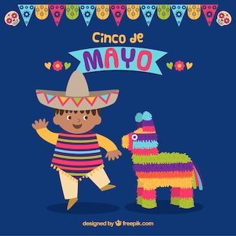 Fondo de cinco de mayo con niño mexicana y piñata
