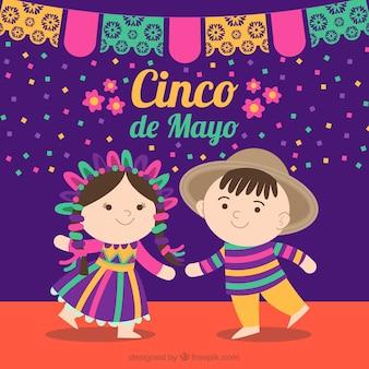Fondo de cinco de mayo con niños mexicanos