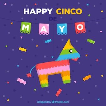 Fondo de cinco de mayo con piñata colorida