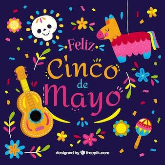 Fondo del cinco de mayo con piñata y guitarra