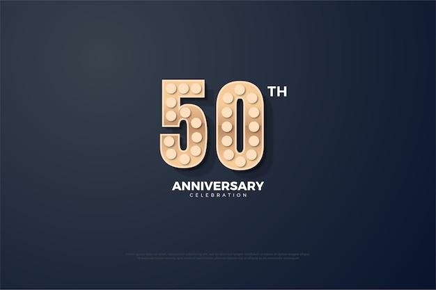 Fondo de cincuenta aniversario con números de efectos de luz.
