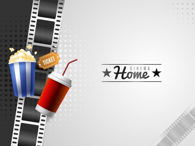 Fondo de cine en casa con elementos de palomitas de maíz y bebidas