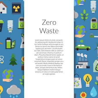 Fondo con cinta, lugar para texto y con ilustración de elementos planos de ecología