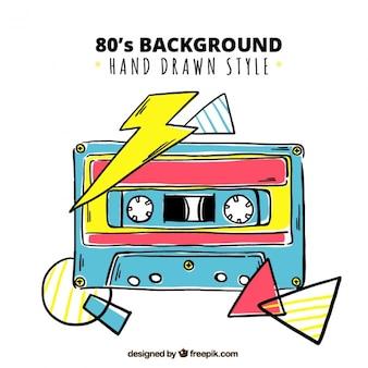 Fondo de cinta de música dibujada a mano de los ochenta