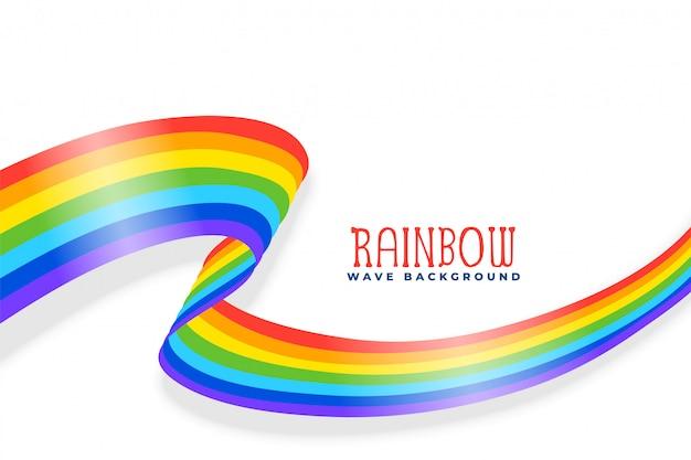 Fondo de cinta o bandera ondulada de arco iris